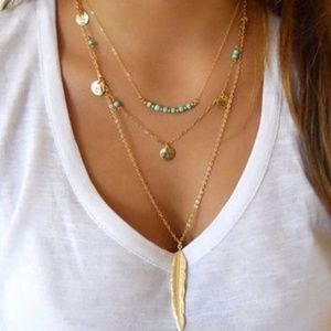 ⭐3 Layer Feather Necklace⭐